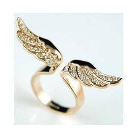 New fashion jewelry golden angel wings ring female full rhinestone opening ring 6pcs/lot cheap wholesale freeshipping(China (Mainland))