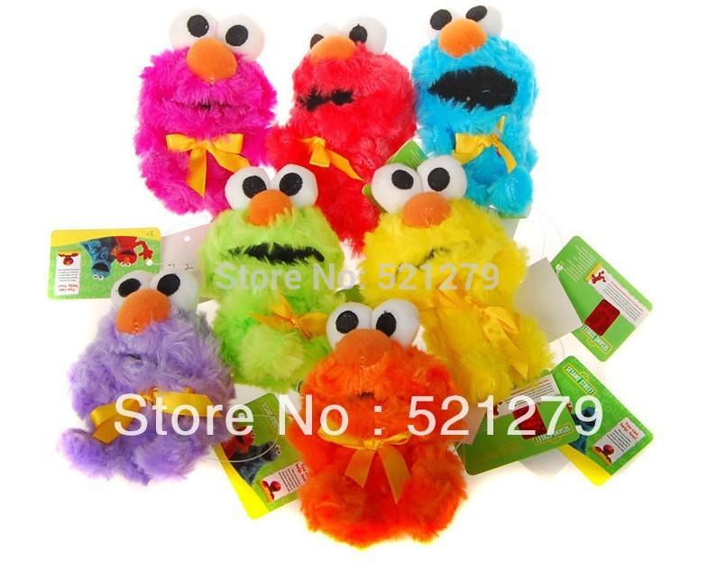 free shipping wholesale 60pcs/lot 10cm Sesame street elmo plush pendants,7colors mixed,cell phone pendants/wedding gifts(China (Mainland))