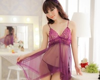 Hot-selling sexy sleepwear female temptation underwear lace decoration transparent gauze spaghetti strap nightgown set 50-65kg