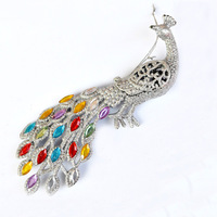 Shining quality christmas tree decoration Christmas silver peacock hangings