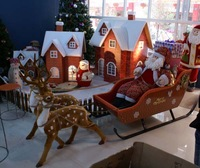 Christmas gift christmas decoration christmas deer car wood snowmobile combination