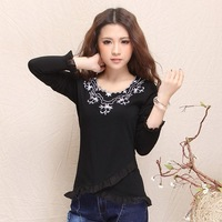 2013 autumn women's all-match national trend fashion irregular sweep petals embroidery long-sleeve T-shirt