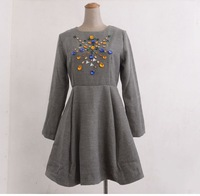 Free Shipping  Women Spring Autumn Woolen Dress Empire Waist Rhinestone Appliques Three Quarter Sleeve Cute Girl Dress