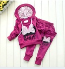 New style girl sport wear Baby Clothing Set girls sport suit Fashion two-piece Baby Garment Butterfly Sets ,(1sets/lot(China (Mainland))