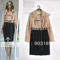 Free shipping 2013 new three-color lapel wool send belt  long sleeve woolen coats Jackets1377