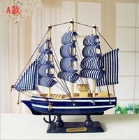 Modern home decoration sailing boat technology gift new house decoration 18cm Mediterranean style