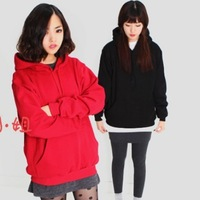 2013 winter with a hood loose plus velvet thickening pullover sweatshirt outerwear female autumn and winter sisters equipment