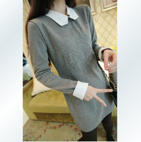 2013 white turn-down collar fashion vintage disk flowers plus velvet basic shirt female long-sleeve dress
