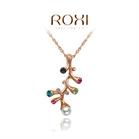 ROXI Christmas Gift Classic Genuine Austrian White Crystals Fashion Luxury Link Chain Colorful Stones Tree Branch Big OFF Party