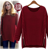 Women's medium-long batwing shirt keqili loose sweater thick outerwear sweater