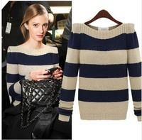 Women's Autumn loose outerwear stripe long-sleeve sweater female  basic shirt