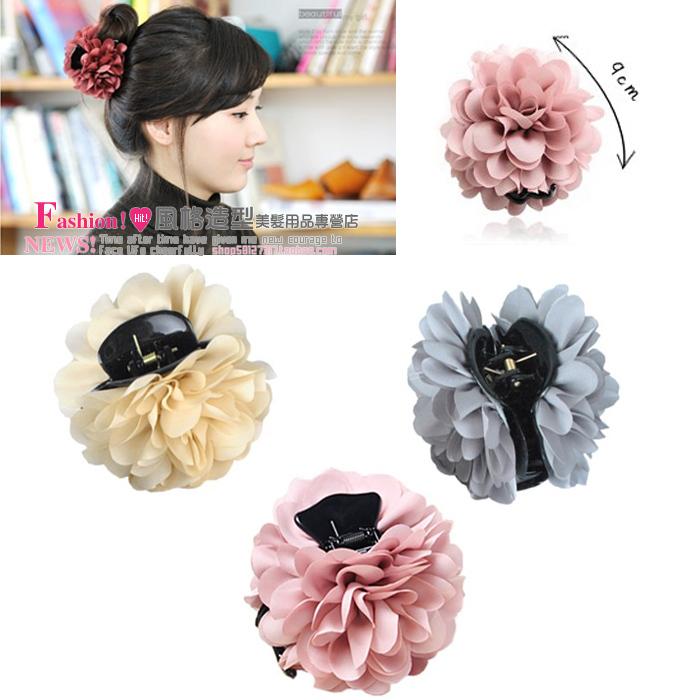 wholesale & retail women accessories headwear chiffon gripper flower hair caught hair maker gripper big clip elegant claw clip(China (Mainland))