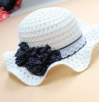 2014 New Children Summer  Hat Kids Girls Flower Sunbonnet Cap Baby Hat Girl Beach Cap size 51cm,53cm