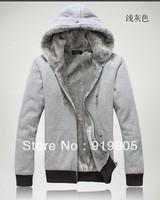 2013 Free shipping fashion autumn/winter plus velvet Hoodies cardigan jackets men's sport sweatshirt coats M~5XL Zipper outwear