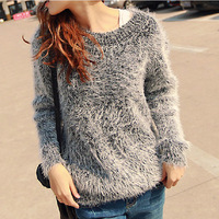 2013 Autumn women's mohair sweater o-neck long-sleeve loose pullover sweater female outerwear