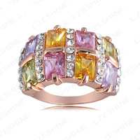 Free Shipping Wholesale 2013 Women Rings 18K Rose Gold Plate Genuine Austrian Crystal SWA Elements Ring RIN099