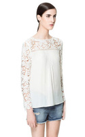 2013zara autumn fashion hook needle knitted patchwork cutout flower chiffon shirt lace shirt