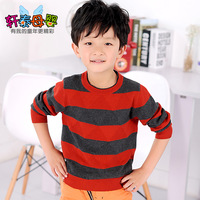 Stripe 100% cotton sweater fashion sweater male child sweater big boy child baby