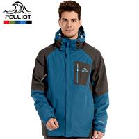 Free Shipping Pelliot outdoor skiing jacket male three-in fleece outdoor jacket twinset