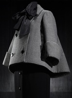 2013 New Free Shipping Bow Knot Collar Brand Design Retro Winter Short Coat Houndstooth Plover  Cotton-padding A-line Jacket