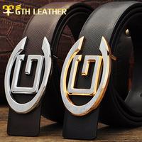 New Arrive Fashion Men's Genuine Leather Belt  Man Waist  Alloy  Gold/Silver Buckle Luxury Belts  PD000195 Free Shipping