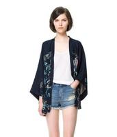 New Fashion Ladies' Vintage Non-button Phoenix Pattern loose kimono coat jacket outwear casual slim outwear tops