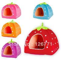 Free Shipping! Cute Foldable Strawberry Design Warm Soft Pet Dog Nest Dog Cat Rabbit Bed House Red Blue Pink Orange Purple S M L