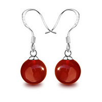 Candy earrings 925 pure silver earrings drop earring pure silver red agate earrings silver earrings 266