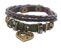 Fashion Wrap Braided Rope Bead I Love You Heart Snap Leather Bracelet Wristband