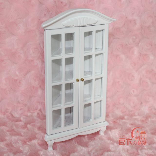 Gigi doll house mini furniture white corner cabinet showcase wine cooler 22079(China (Mainland))