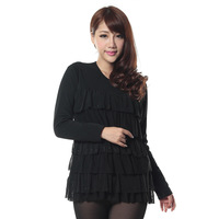 Thickening plus velvet plus size cake fashion thermal underwear long-sleeve thermal top female long design