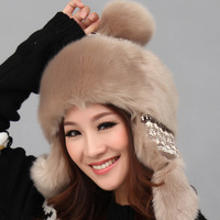 Winter hat female fashion rabbit thermal knitted hat ear protector cap fashion millinery autumn and winter lei feng cap
