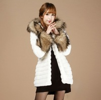 2013 New Free Shipping Fashion Short Autumn and Winter Korean design women's Faux Fur Coat Raccoon fur collar outerwear