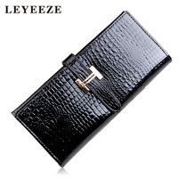 2013 women's wallet long design handmade japanned leather wallet crocodile pattern multi card holder wallet