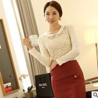 M-XL 2014 autumn new women's chiffon shirt long sleeve lace shirt Slim was thin lace plus size top chiffon blouse fall 2014