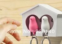 New&Top fashion plastic sparrow key ring,cute bird house key holder,plastic Whistle keychain,plastic animal keychain,bird nest