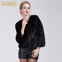 Zqqz women's mink fur coat short design women's fight mink marten overcoat