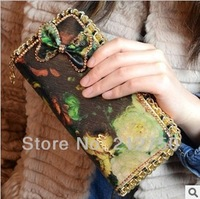Oil painting bowknot retro fashion popular ladies purse new designed women wallet