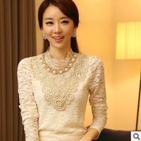 M-XL 2014 autumn new women's chiffon shirt long sleeve lace shirt Slim was thin lace plus size top chiffon blouse Free shipping