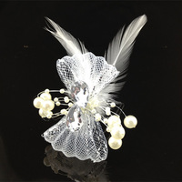 6Pcs White Pearl Feather Bridal Fascinator Wedding Hair Clip Hair Accessory NEW