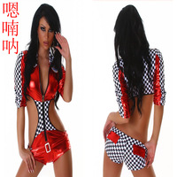 Fashion automobile race lady cars clothes uniform twirled clothing ds costume 4242