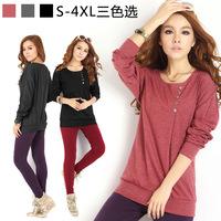 921 # XXXXL 4XL Super Plus Size S-4XL Fashion Korean Loose Bat Sleeve Batwing Round Neck Long-Sleeved Women'S T-Shirt Blouse