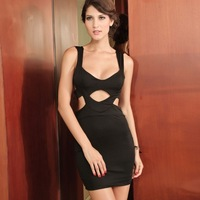 2013 fashion spaghetti strap black zipper cutout one-piece dress 2520