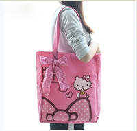 Retail Fashion 100% Canvas Hello Kitty Soft Bowknot Women's Cartoon Shoulder Bags,Size 35.5*29*9 CM,3 Colors