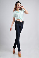 Free Shipping 2013 New Fashion Mid Waist Women Jeans slim fit pencil pants female jeans lengthen skinny  trousers