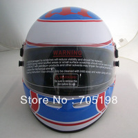 Cardin Full Face Helmet Bright yellow fiberglass F1 White Blue free shipping