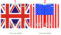 2014 free shipping Hot Newest arrival 2pcs/lots wholesale The UK USA flags  PU leather card foldable case  for iphone 4 4G 4S