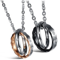 Mens' Womens' Chain Pendant Necklace Double Circle Fashion Couple Jewelry For Lovers Trendy 2014
