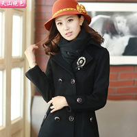 2013 autumn and winter slim stereo women's decoration wool female coat medium-long slim woolen overcoat outerwear