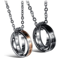 stainless steel fashion jewelry wedding bands love jewelry for couple lovers' pendant necklace luxury